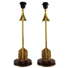Maison Jansen Style Arrow Table Lamps in Gilded Bronze and Mahogany