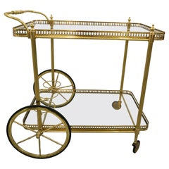 Maison Jansen Style Bar Cart in Polished Brass