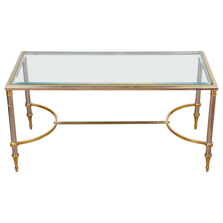 Maison Jansen Style Brass and Chrome Coffee Table