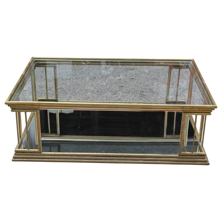Maison Jansen style modern brass coffee table with mirrored glass.