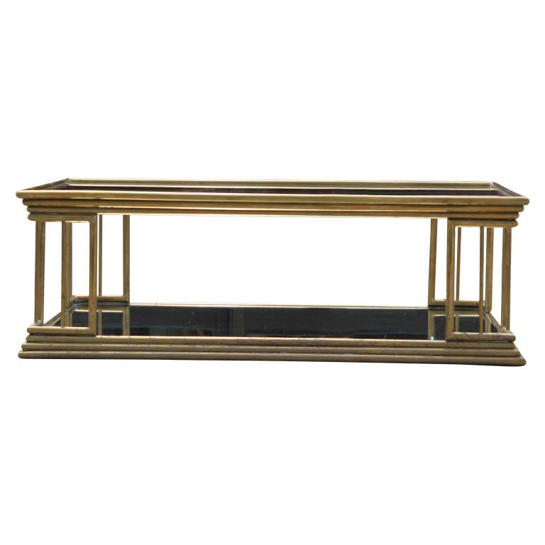Hollywood Regency Maison Jansen Style Brass Coffee Table with Mirrored Glass For Sale