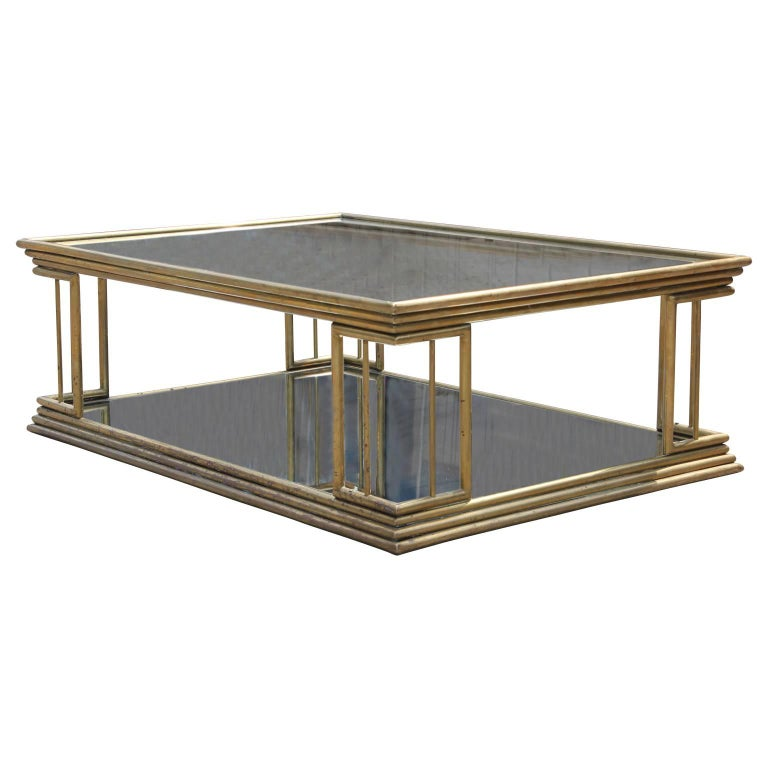 Maison Jansen Style Brass Coffee Table with Mirrored Glass For Sale