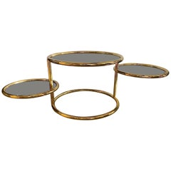 Maison Jansen Style Brass Multi Functional 3-Tier Extendable Coffee Table