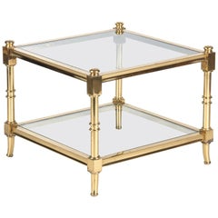 Maison Jansen Style Brass Side Table, France, 1960s