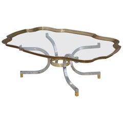 Maison Jansen Style Brass Tray Coffee Table