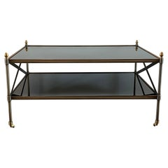 Maison Jansen Style Brushed Brass X-Base Two-Tiered Coffee Table, 1980s