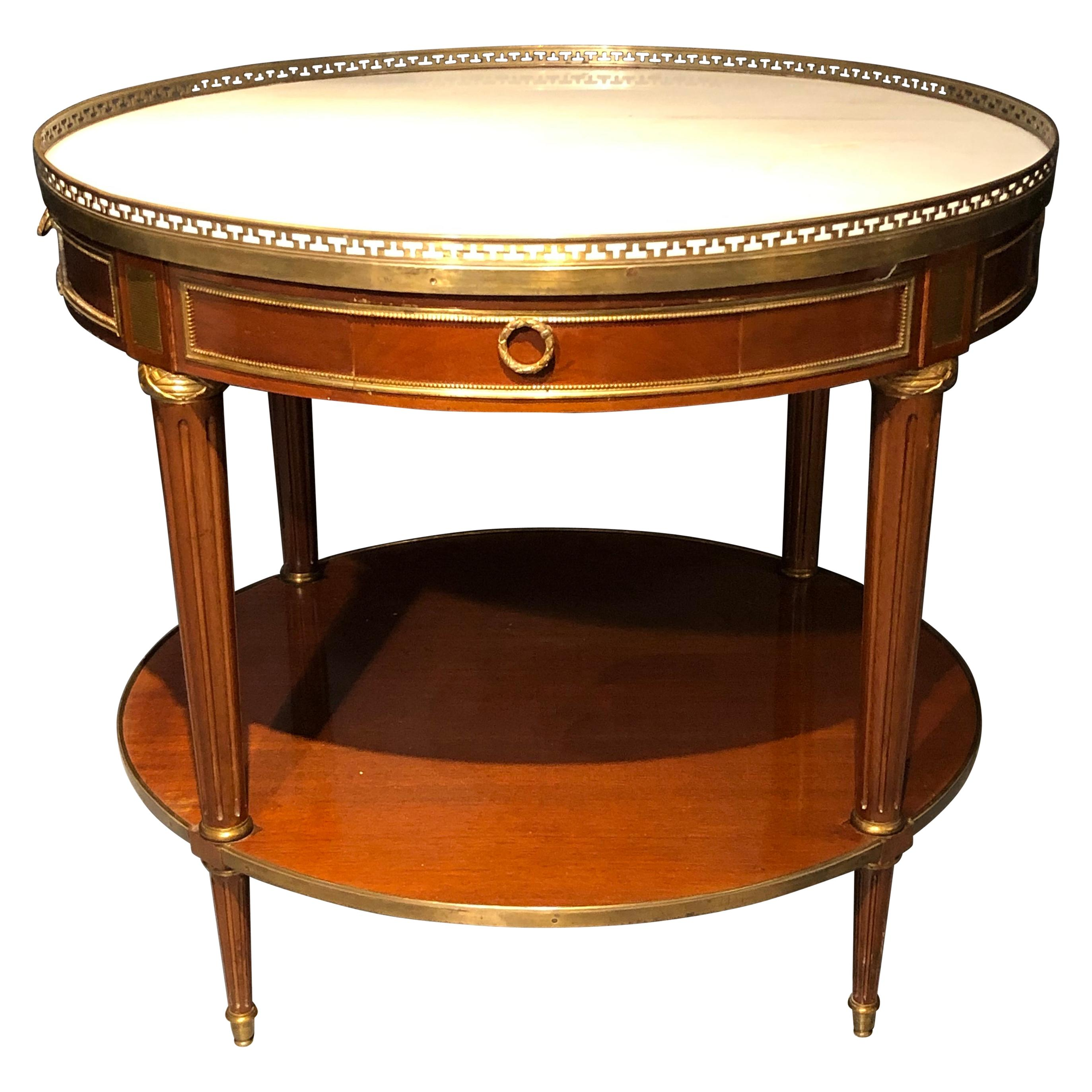 Maison Jansen Style Center, End or Card Table Louis XVI Form, Marble Top