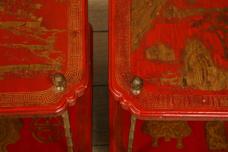 Beautiful pair of red lacquer tables with gold leaf accents, chinoiserie style. The legs are bronze with bamboo shape. Rare pair, 1950s, France.  Measures: Height 25.5 in. (64.77 cm) Width 21.75 in. (55.25 cm) Depth 14.5 in. (36.83 cm).