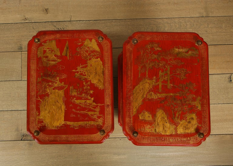 Mid-Century Modern Maison Jansen Style Chinoiserie Pair of Red Side Tables, France, 1950s