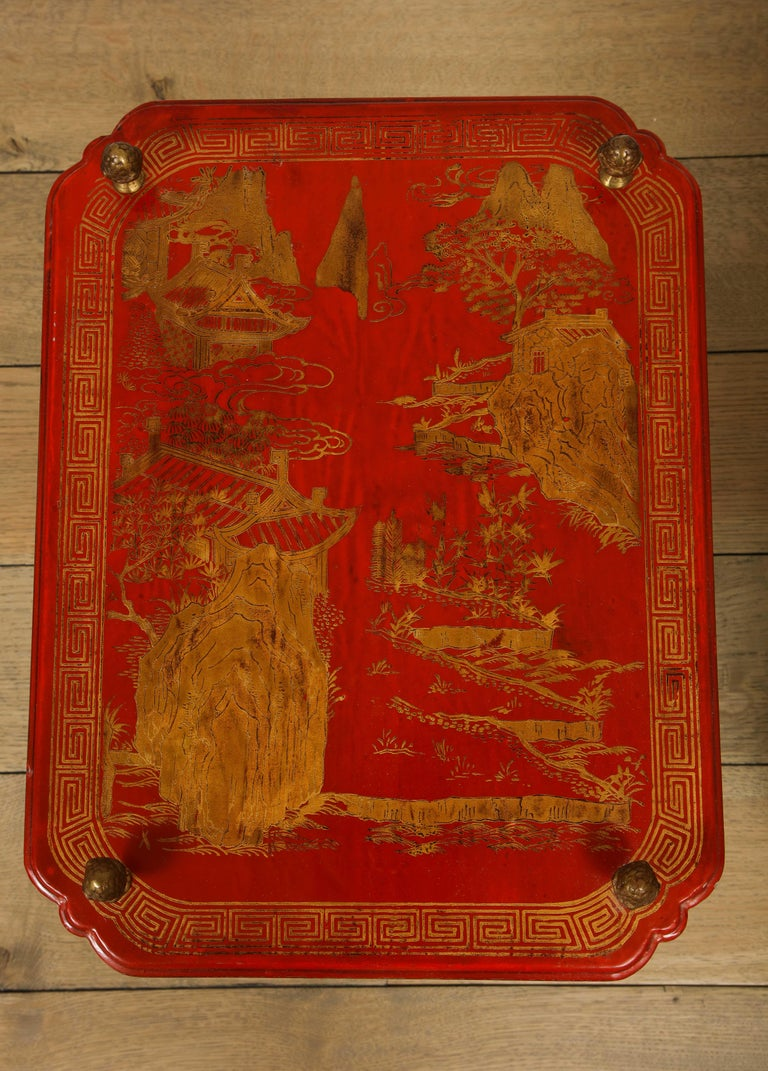 French Maison Jansen Style Chinoiserie Pair of Red Side Tables, France, 1950s