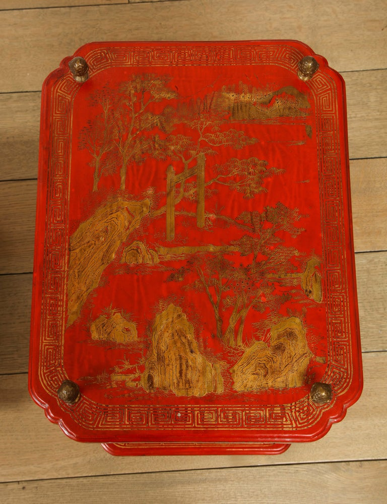 Maison Jansen Style Chinoiserie Pair of Red Side Tables, France, 1950s In Good Condition In New York, NY