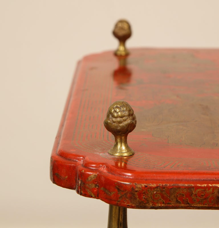 20th Century Maison Jansen Style Chinoiserie Pair of Red Side Tables, France, 1950s