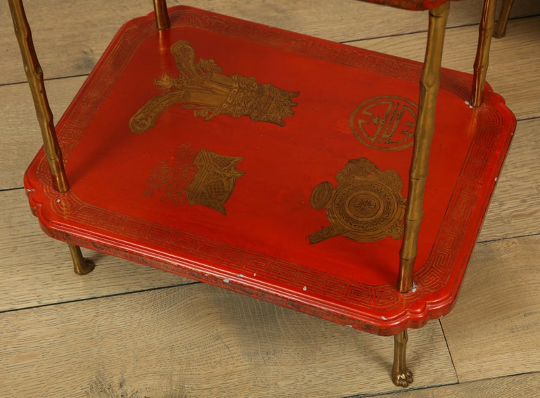 Bronze Maison Jansen Style Chinoiserie Pair of Red Side Tables, France, 1950s