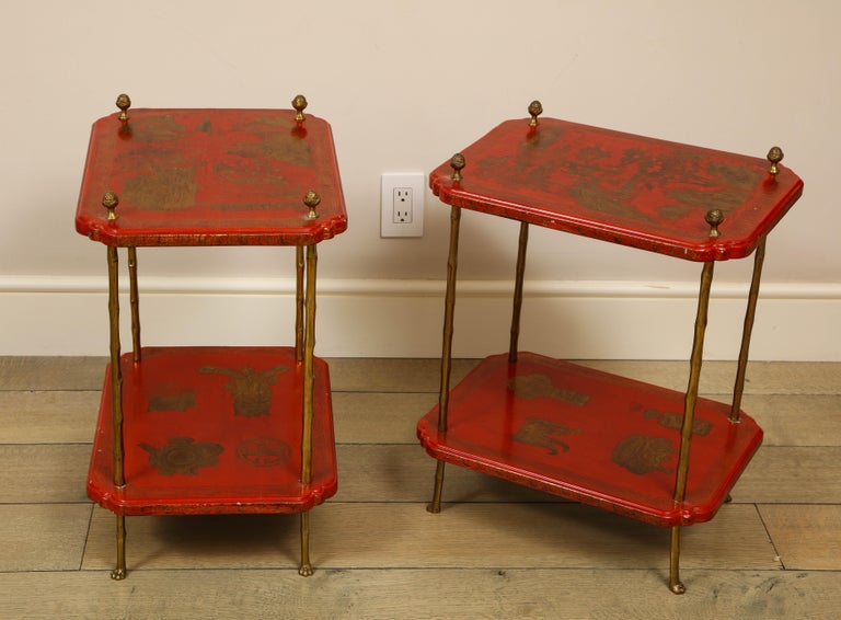 Maison Jansen Style Chinoiserie Pair of Red Side Tables, France, 1950s 1
