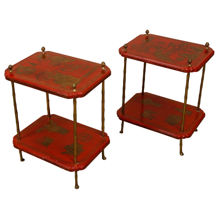 Maison Jansen Style Chinoiserie Pair of Red Side Tables, France, 1950s