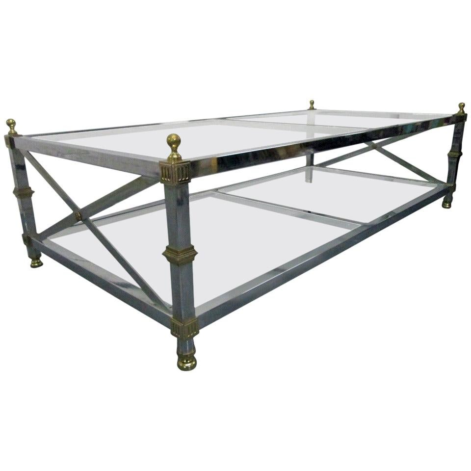 Maison Jansen Style Chrome and Brass Coffee Table
