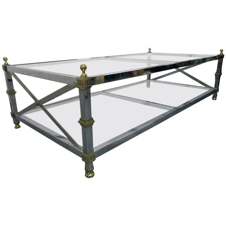 Maison Jansen Style Chrome and Brass Coffee Table For Sale