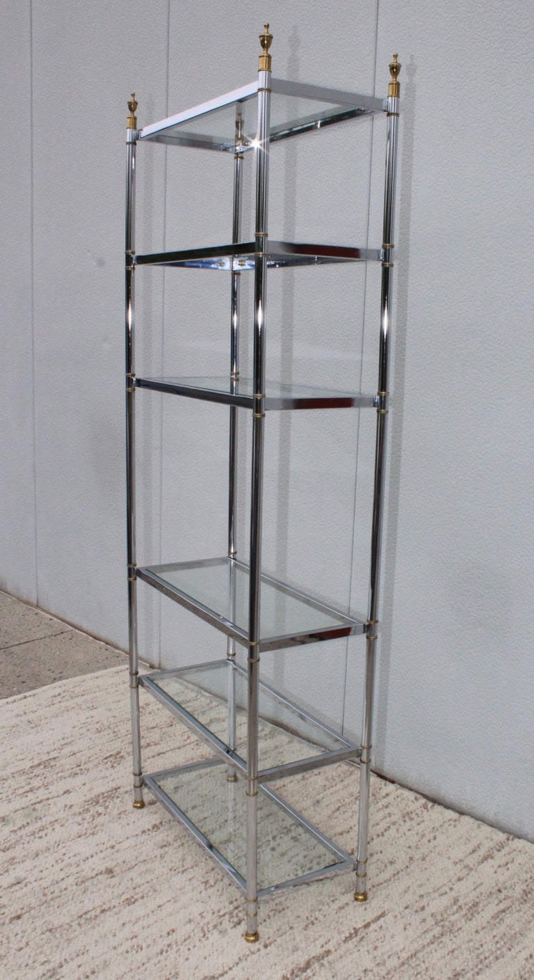 1970s Mid-Century Modern chrome and brass Etagere in the style of Maison Jansen.
