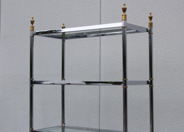 Mid-Century Modern Maison Jansen Style Chrome and Brass Etagere For Sale