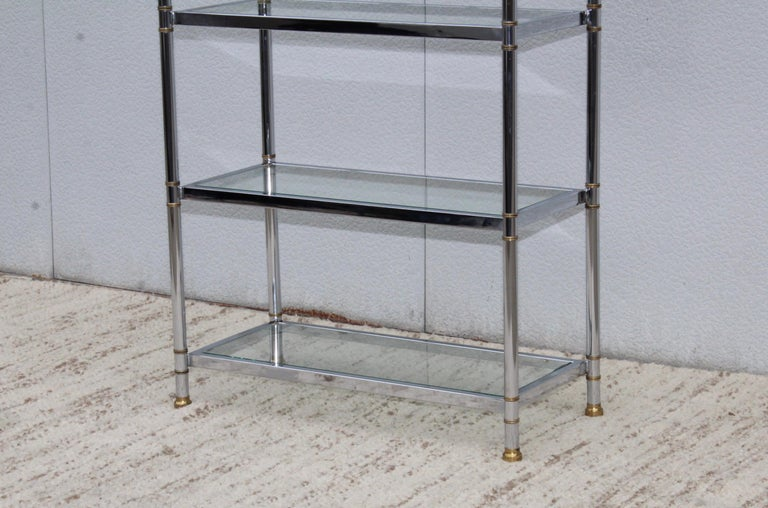 French Maison Jansen Style Chrome and Brass Etagere For Sale