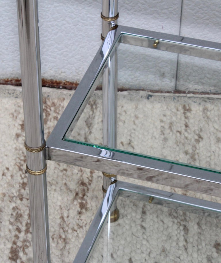 Maison Jansen Style Chrome and Brass Etagere For Sale 1