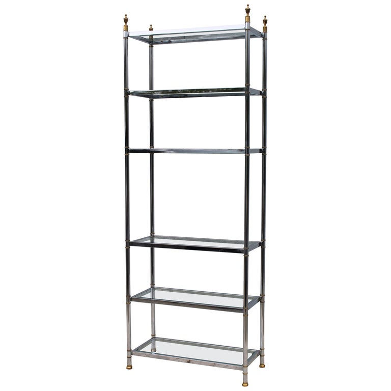 Maison Jansen Style Chrome and Brass Etagere For Sale