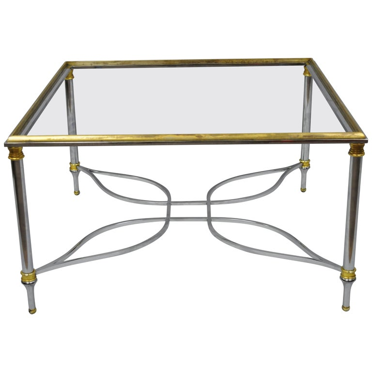 Maison Jansen Style Chrome Steel and Brass Square Coffee Table Base For Sale
