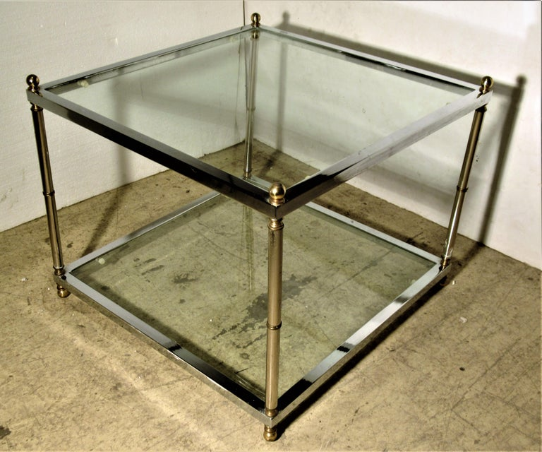 Maison Jansen Style Chromed Steel and Brass Coffee Table In Good Condition For Sale In Rochester, NY