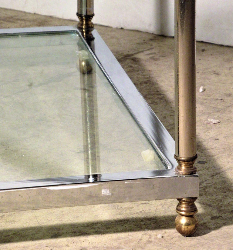 Maison Jansen Style Chromed Steel and Brass Coffee Table For Sale 1