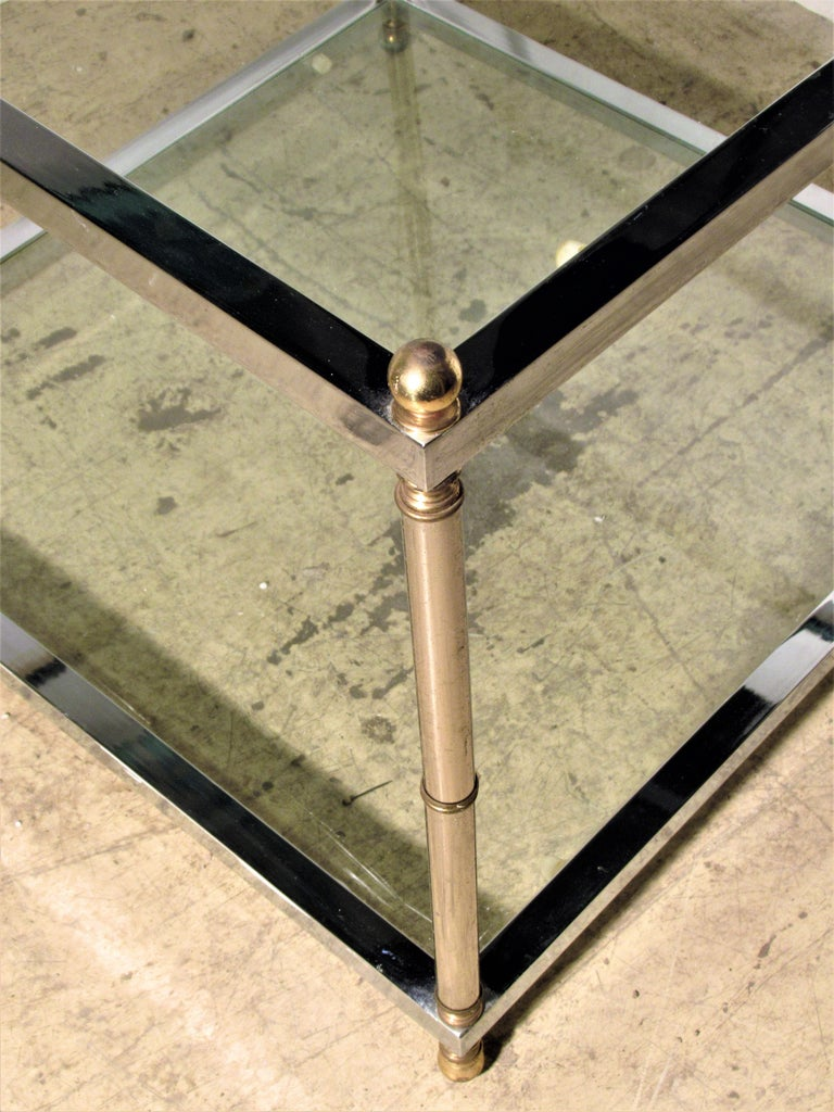 Maison Jansen Style Chromed Steel and Brass Coffee Table For Sale 2