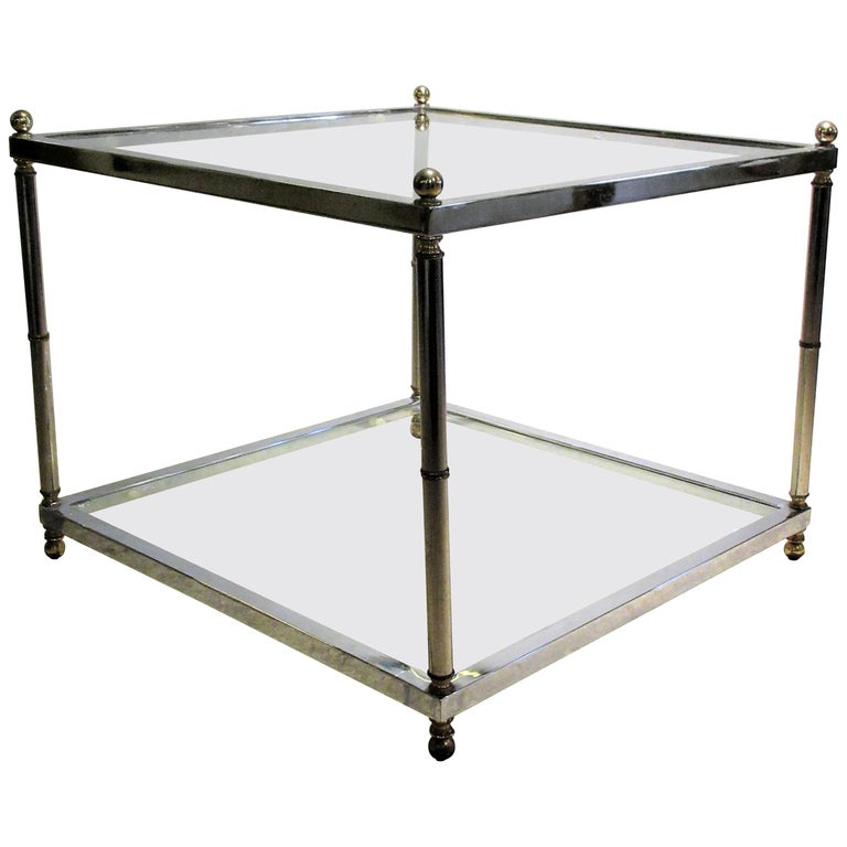 Maison Jansen Style Chromed Steel and Brass Coffee Table For Sale