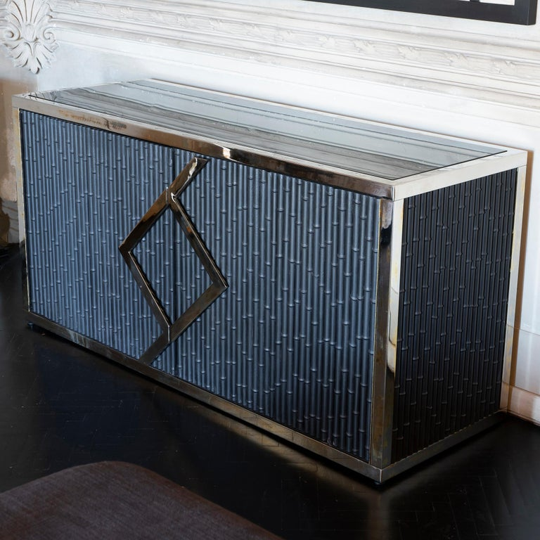 Maison Jansen Style Credenza Chromed Brass and Black Steel Faux Bamboo, 1970s In Good Condition For Sale In Firenze, IT
