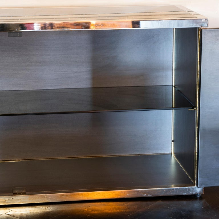 Late 20th Century Maison Jansen Style Credenza Chromed Brass and Black Steel Faux Bamboo, 1970s For Sale