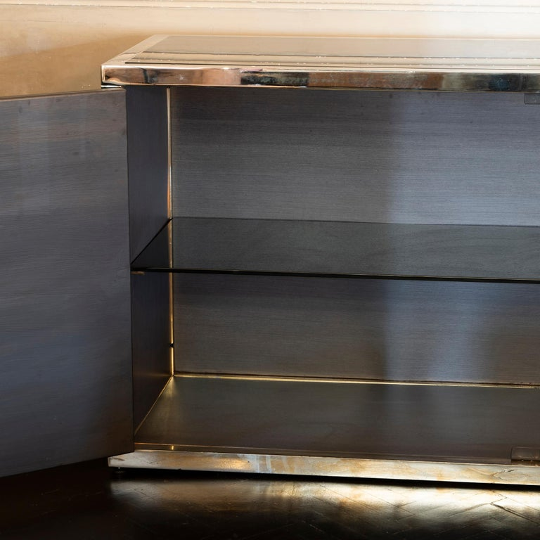 Maison Jansen Style Credenza Chromed Brass and Black Steel Faux Bamboo, 1970s For Sale 3