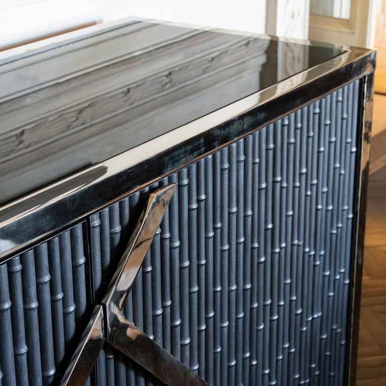 Maison Jansen Style Credenza Chromed Brass and Black Steel Faux Bamboo, 1970s For Sale 4