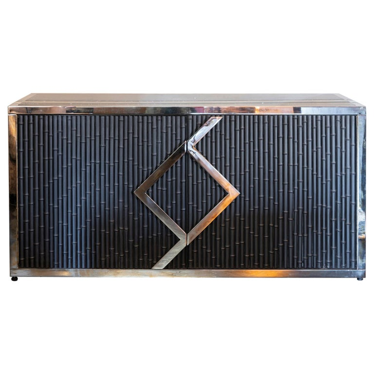 Maison Jansen Style Credenza Chromed Brass and Black Steel Faux Bamboo, 1970s For Sale