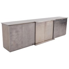 Maison Jansen style Credenza in Brushed Stainless Steel, 1980s