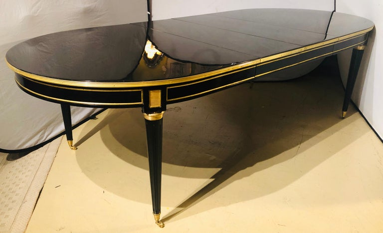 Maison Jansen Style Ebony Lacquered Dining Table in Hollywood Regency Fashion For Sale 10