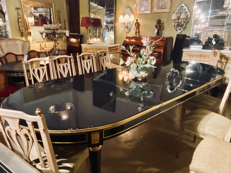 Metal Maison Jansen Style Ebony Lacquered Dining Table in Hollywood Regency Fashion For Sale