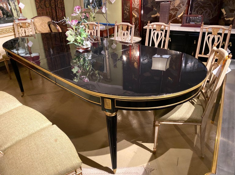 Maison Jansen Style Ebony Lacquered Dining Table in Hollywood Regency Fashion For Sale 1