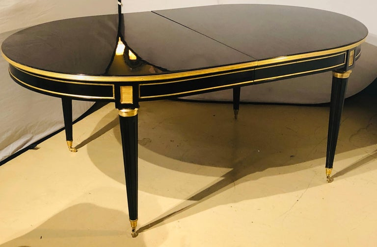 Maison Jansen Style Ebony Lacquered Dining Table in Hollywood Regency Fashion For Sale 2