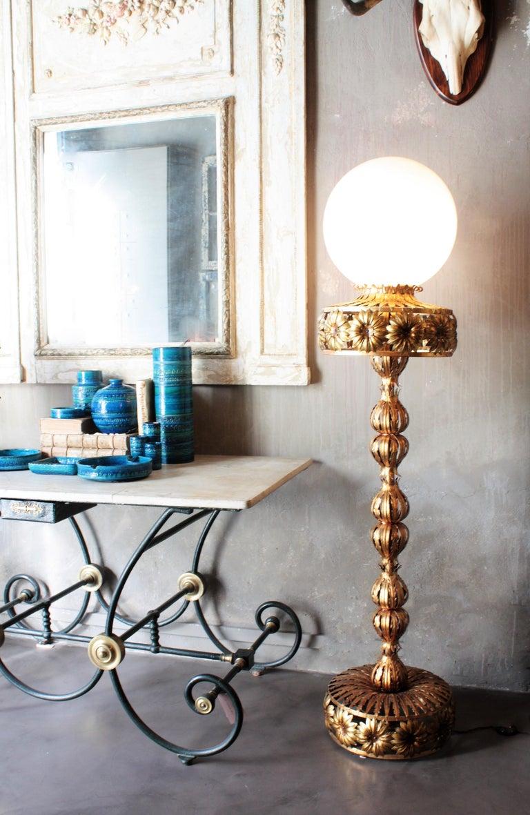 Mid-Century Modern Maison Jansen Style Floral Foliage Globe Floor Lamp, Gilt Iron and Milk Glass For Sale