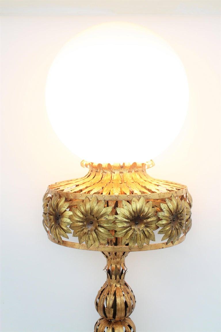 20th Century Maison Jansen Style Floral Foliage Globe Floor Lamp, Gilt Iron and Milk Glass For Sale