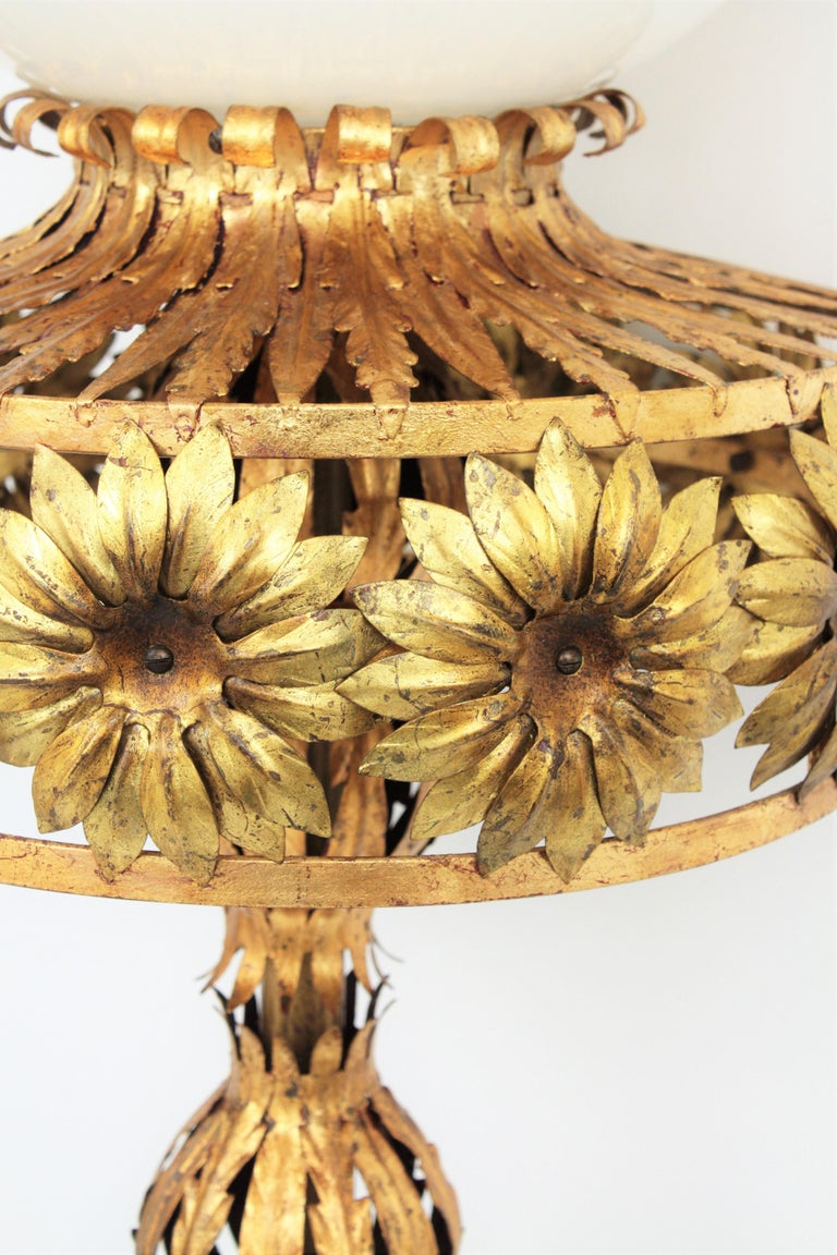 Maison Jansen Style Floral Foliage Globe Floor Lamp, Gilt Iron and Milk Glass For Sale 1