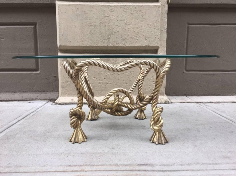 Mid-20th Century Maison Jansen Style French Bronze Rope Coffee Table For Sale