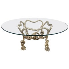 Maison Jansen Style French Bronze Rope Coffee Table