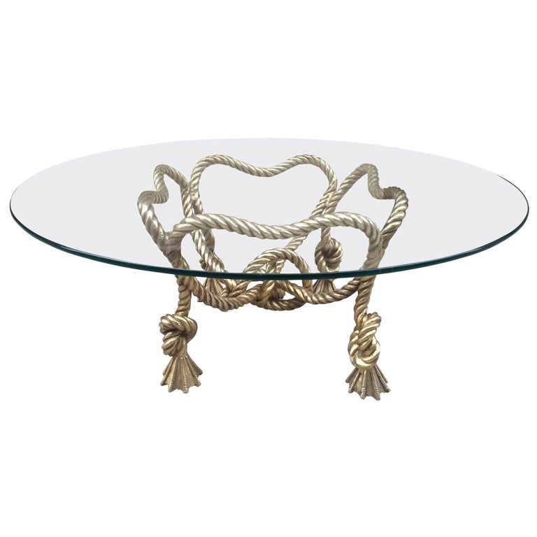 Maison Jansen Style French Bronze Rope Coffee Table For Sale