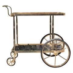 Maison Jansen Style French Neoclassical Brass Bar Cart