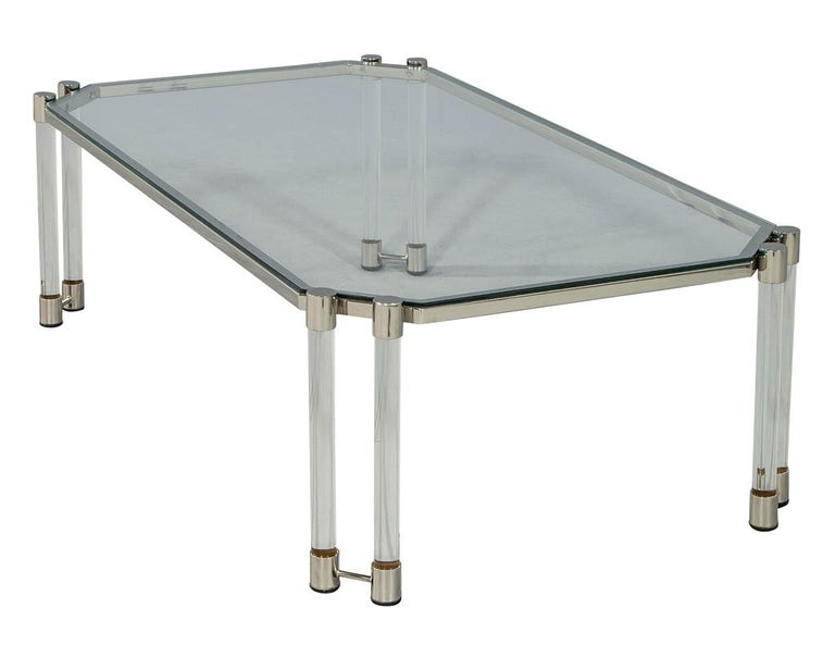 French Maison Jansen Style Glass Acrylic Modern Cocktail Table For Sale