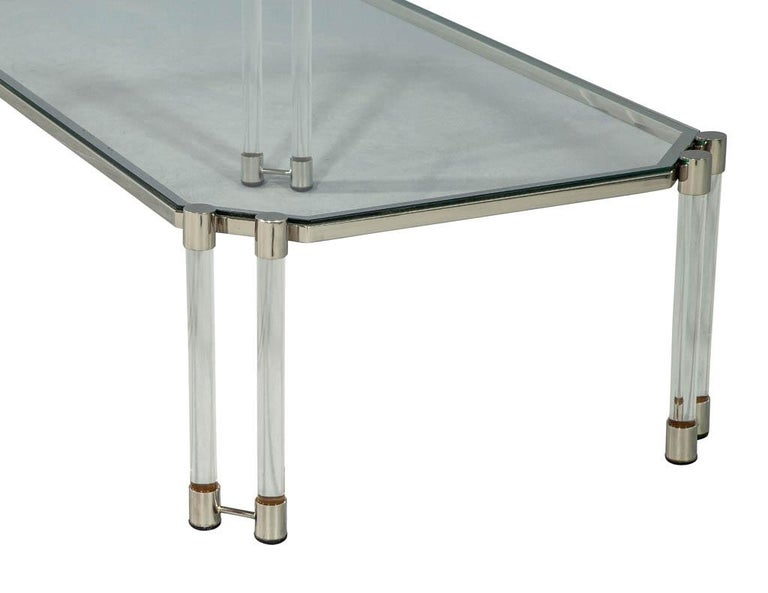 Maison Jansen Style Glass Acrylic Modern Cocktail Table In Good Condition For Sale In North York, ON